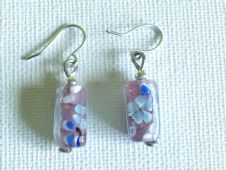 Small glass rectangle earrings